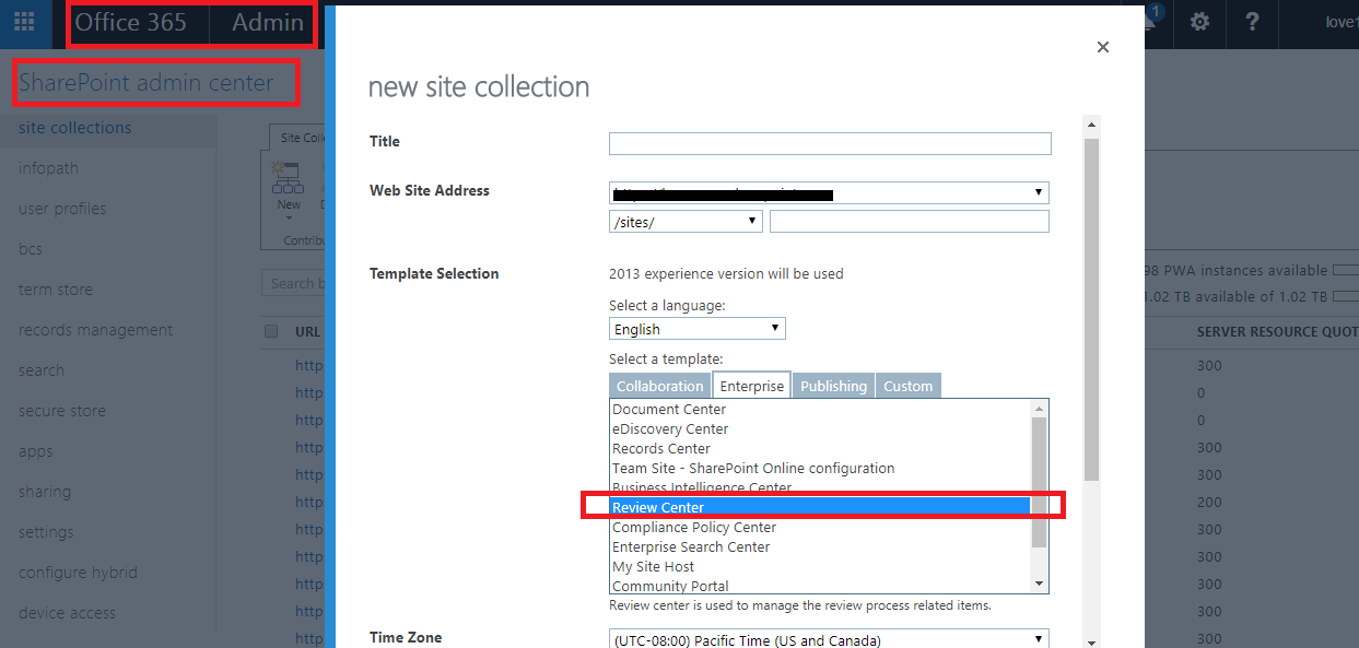 what is purpose of review center site collection template in spo  office 365