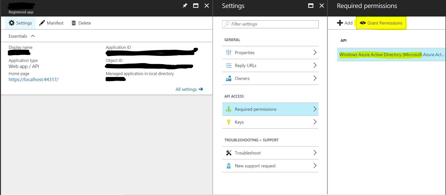 re  what is the grant permissions button for azure ad webapp - microsoft tech community