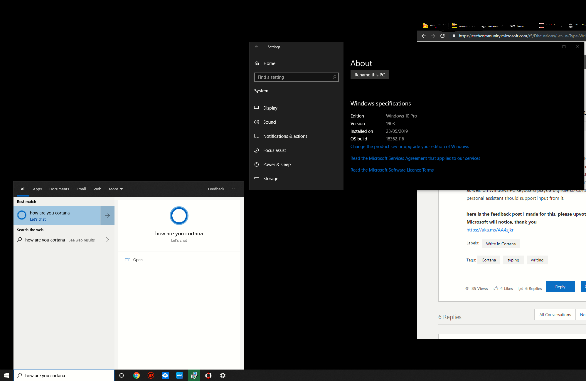 Let us Type/Write in Cortana in order to interact with her, rather