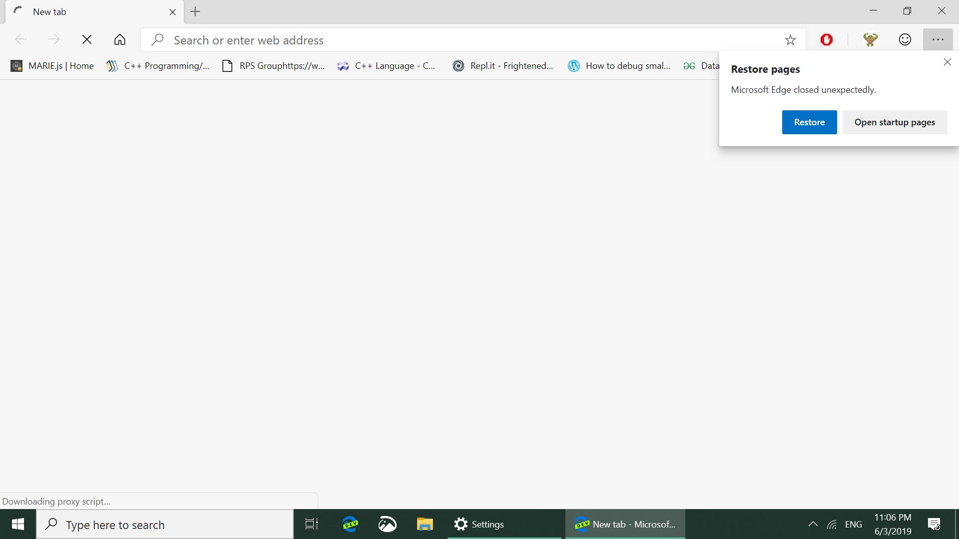 MS Edge Chromium bookmark keep crashing on startup (Need to