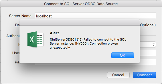 Connect to a MySQL database - Error Excel 2016 for Mac
