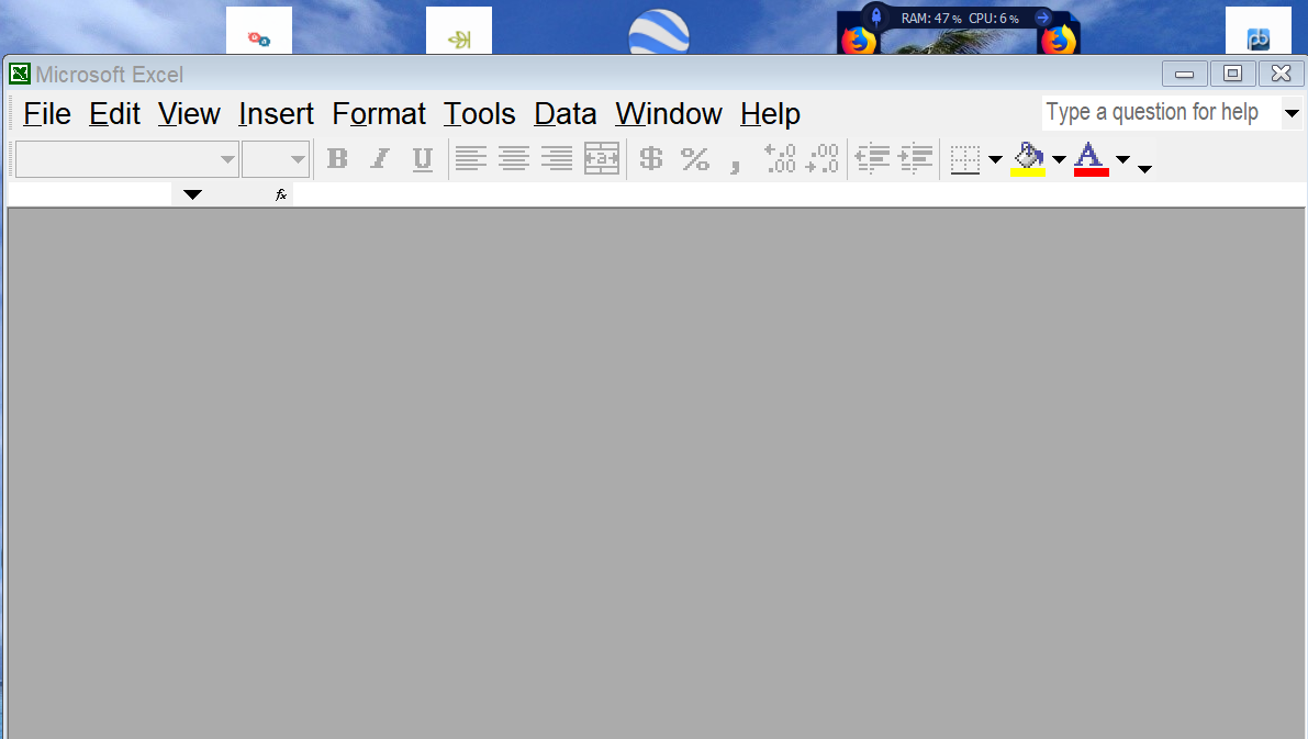 excel opens blank grey screen