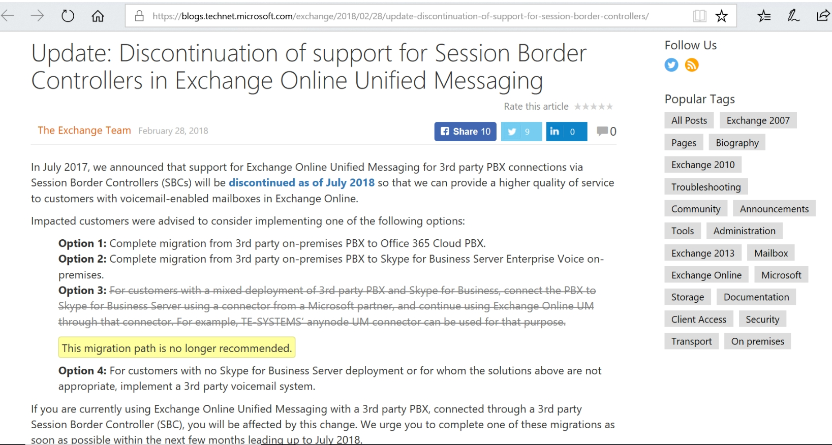 Discontinuation of support for Session Border Controllers in