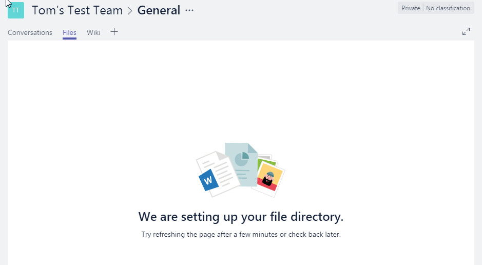Microsoft Teams - We are setting up your file directory