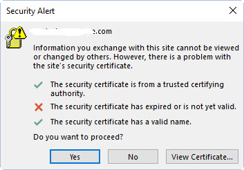 The security certificate has expired or is not yet valid - Microsoft