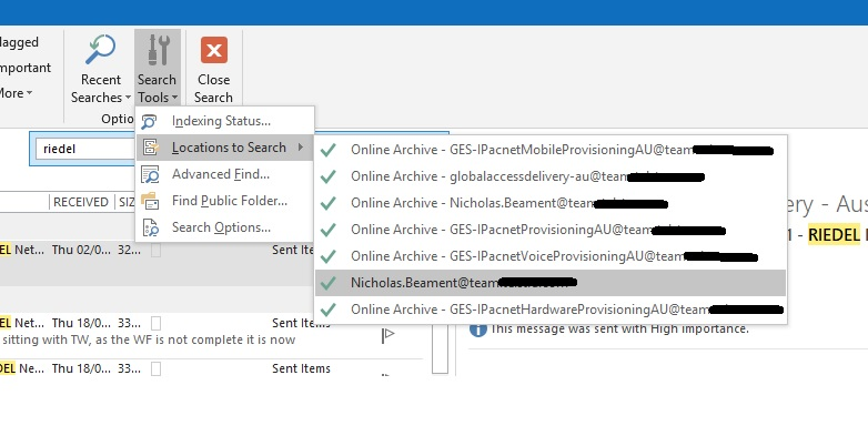 outlook 2016 keyword search