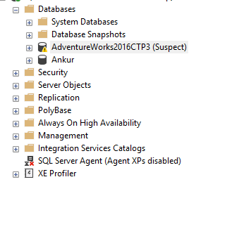 Adventure Works Database in Suspect Mode & Unable to install