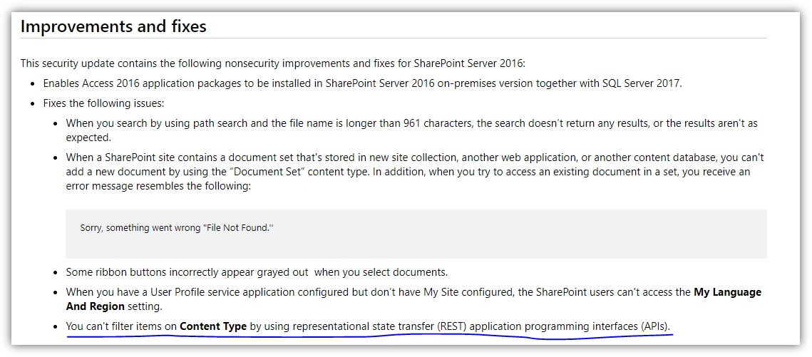 SharePoint 2016 REST API: query filtered by ContentType