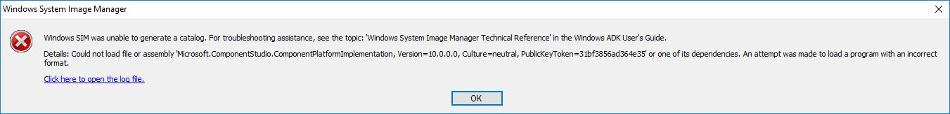 Unable to catalog Windows 10 1809 in WSIM / MDT (added relevant