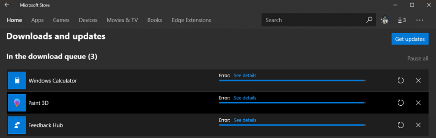 Windows Store apps can't download/run (1803 17133 73) - Microsoft