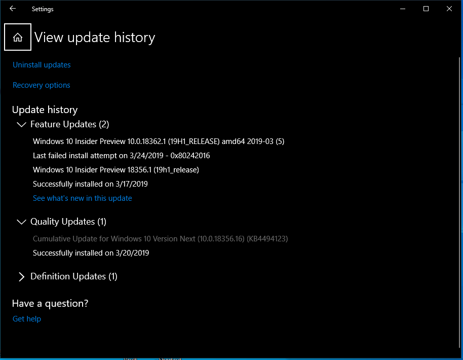 Upgrade from 18356 16 to 18362 1 fails - Microsoft Tech