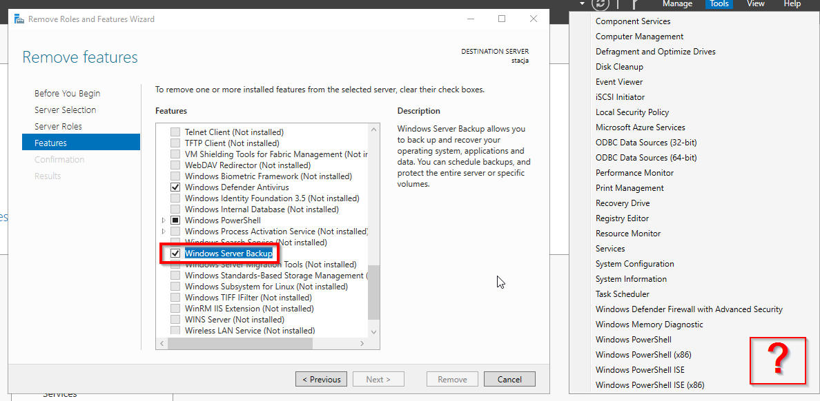 Windows Server 2019 Standard 1809 - where is Windows Backup