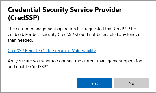 Cluster Update asking to enable CredSSP - Microsoft Tech