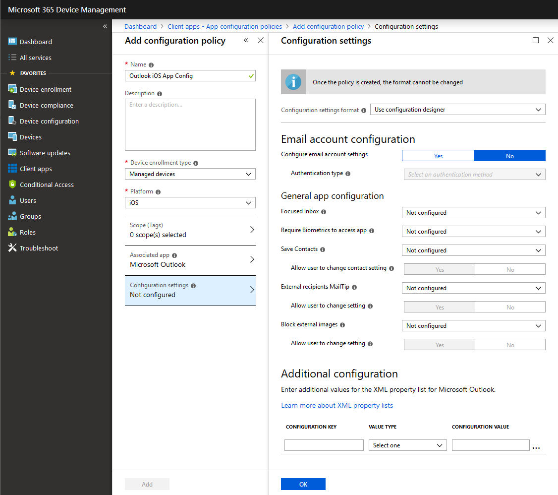 New Outlook for iOS and Android App Configuration Policy