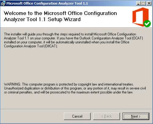 Office Configuration Analyzer Tool (OffCAT) version 1 1 is