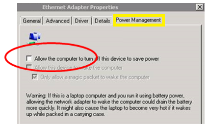Screenshot: Network adapter properties | Power Management tab
