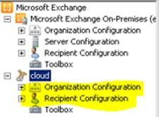 Screenshot: Exchange Management Console (EMC) showing the on-premises and cloud organizations