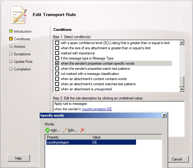 Screenshot: Use the Edit Transport Rule wizard to update the rule with the correct value for CountryOrRegion