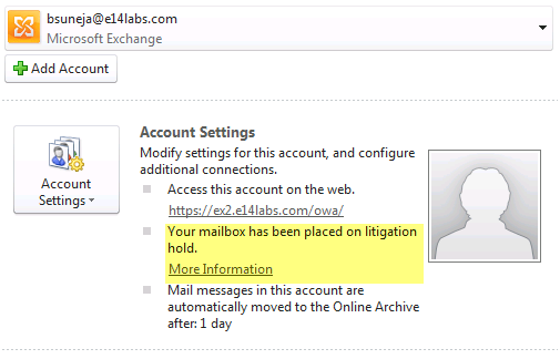Screenshot: Hold comment and link displayed in the Backstage area in Outlook 2010