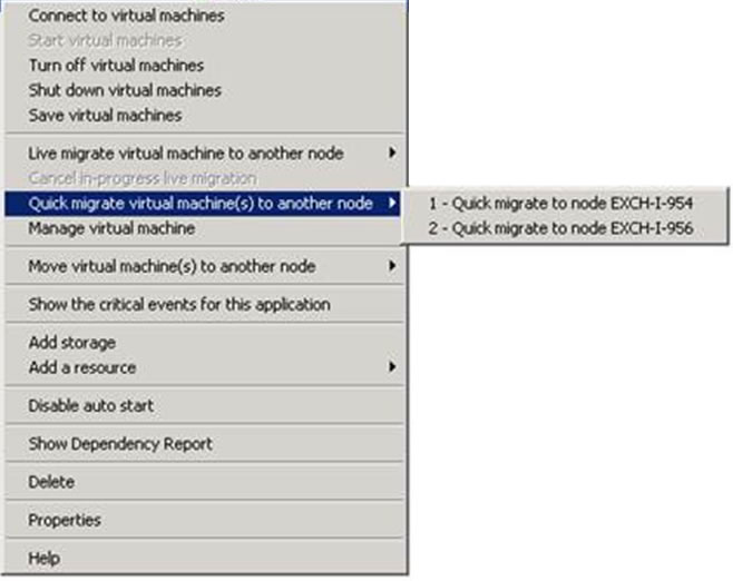 Screenshot: Quick Migration of Database Availability Group in Hyper-V