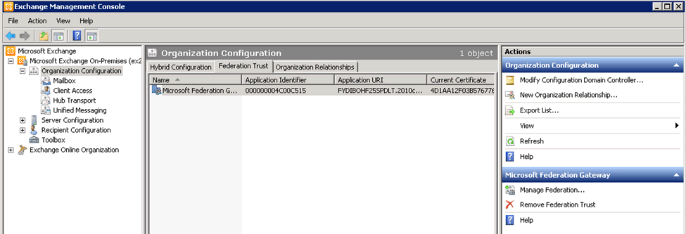 Screenshot: Managing federation trust and organization relationships in EMC