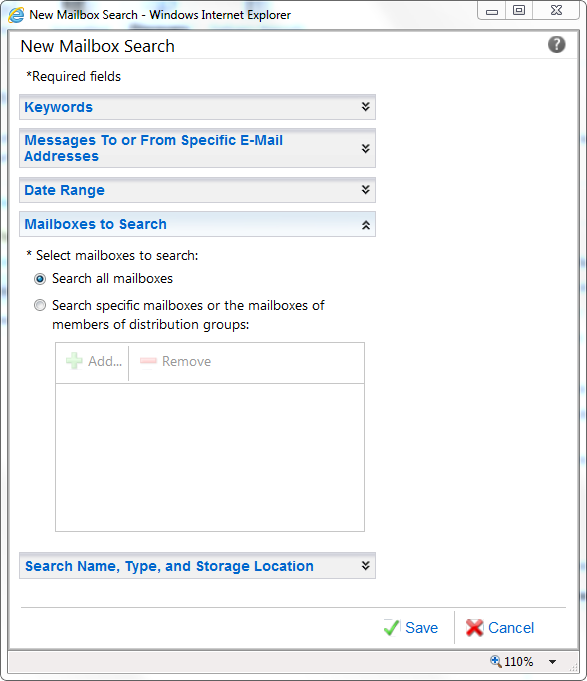 Screenshot: Exchange 2010 Discovery - Search all mailboxes