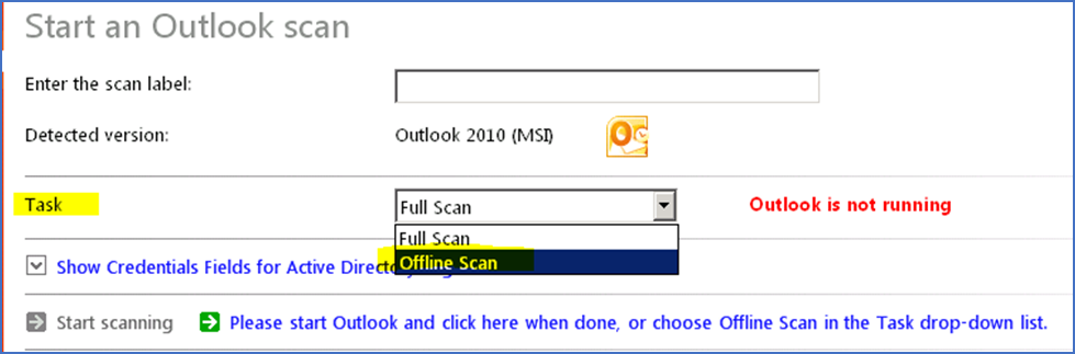 Screenshot: Performing an offline scan of Microsoft Outlook when you can't have it running