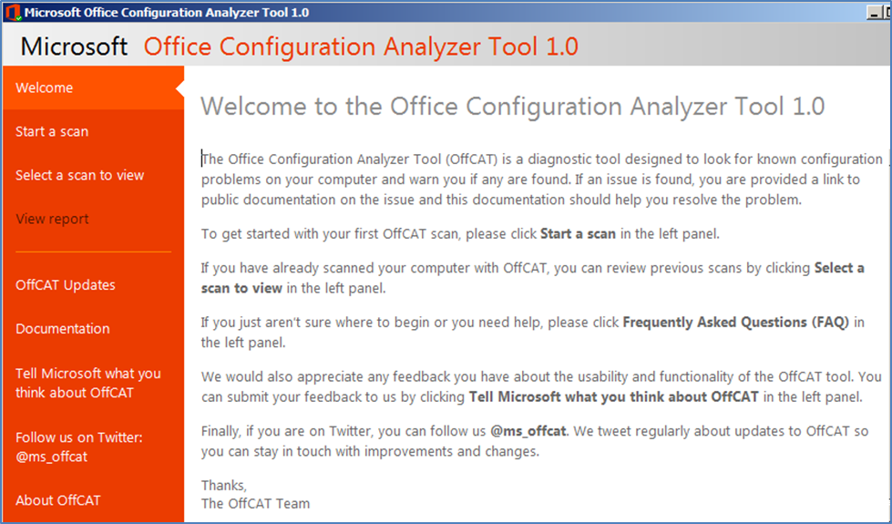 Released: Office Configuration Analyzer Tool (OffCAT