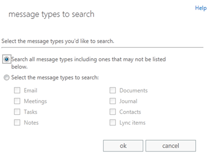 Screenshot: Specify message types to place on hold