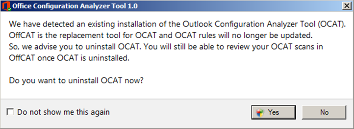 Screenshot: OffCAT setup detects if OCAT is already installed and offers to uninstall it