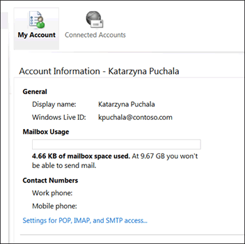 Screenshot: Retrieving the Client Access server name from POP, IMAP and SMTP Access settings in Outlook Web App