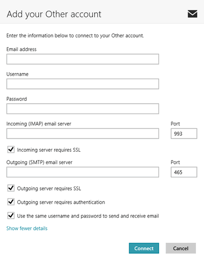 Screenshot: IMAP/SMTP configuration in Windows Mail