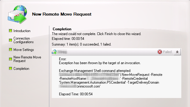 Screenshot: Generic error when performing a remote mailbox move using the EMC in Exchange 2010