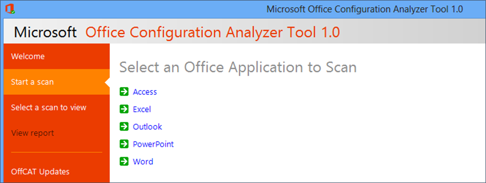 Screenshot: Select an Office application to scan