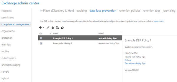 Screenshot: Data loss prevention (DLP) in the Exchange Administration Center (EAC)