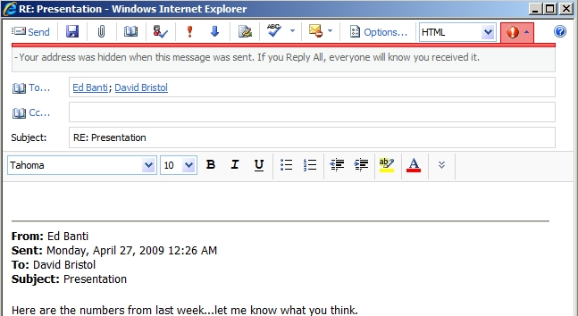 Screenshot: MailTip showing Reply All to a message received as BCC