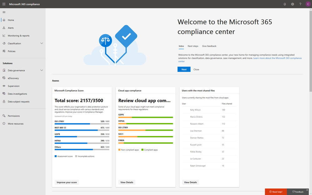 M365 Compliance Center homepage.png