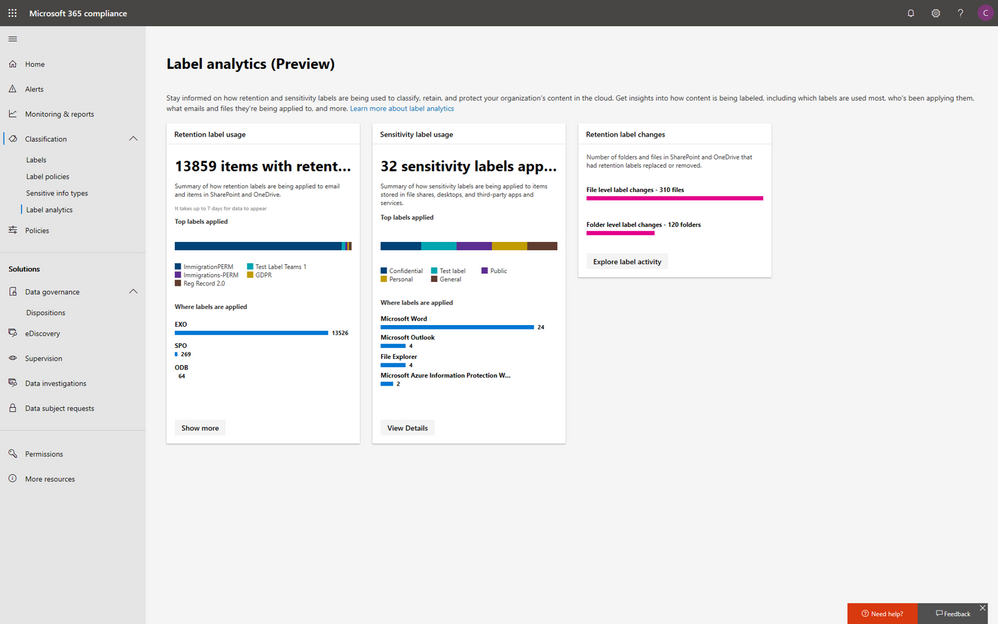 M365 Compliance Center - label analytics.png