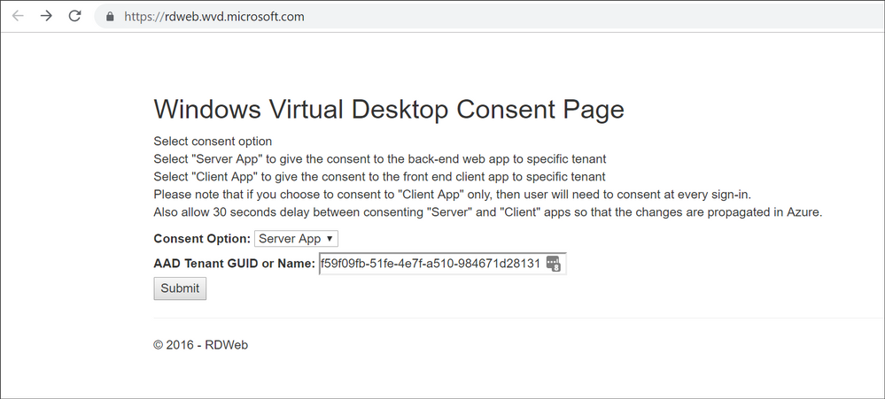 Windows Virtual Desktop Consent Page