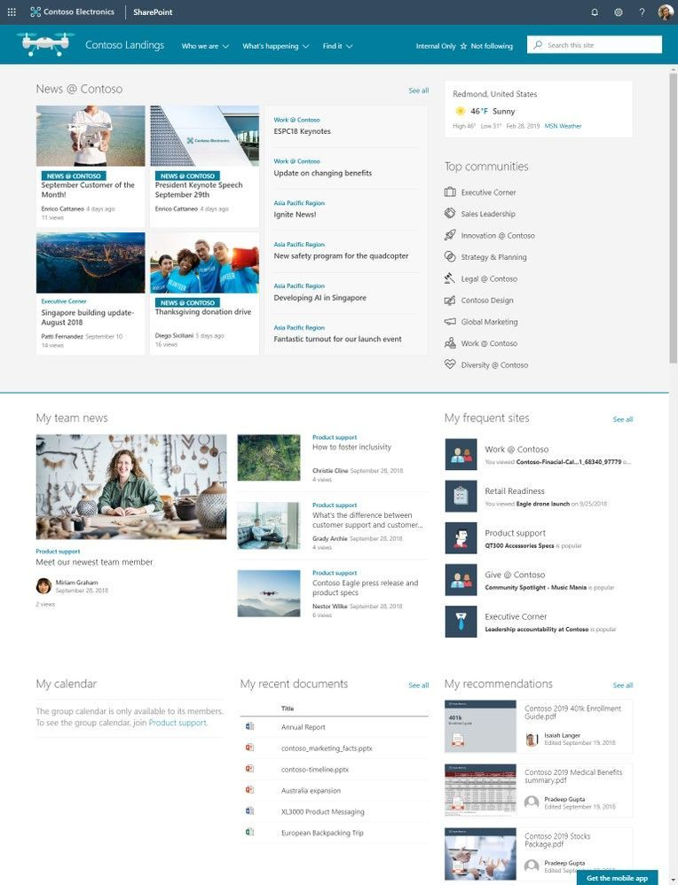 """Sample Contoso news site showing authoritative organization-wide news configured across several News web parts uniquely configured to display news for everyone in the way you design. The """"News @ Contoso"""" badge distinguishes news that comes from the authoritative news site."""