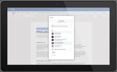 Co-author documents with many of your first-degree LinkedIn connections in Word (as shown above), Excel, and PowerPoint, and send emails to them directly from Outlook, without needing to have their email addresses stored in your contacts.
