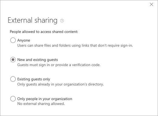 Choose the right level of access for external users to your sites – for all or on a per site basis. You must be a global or SharePoint admin in Office 365 to change the external sharing setting for a site.