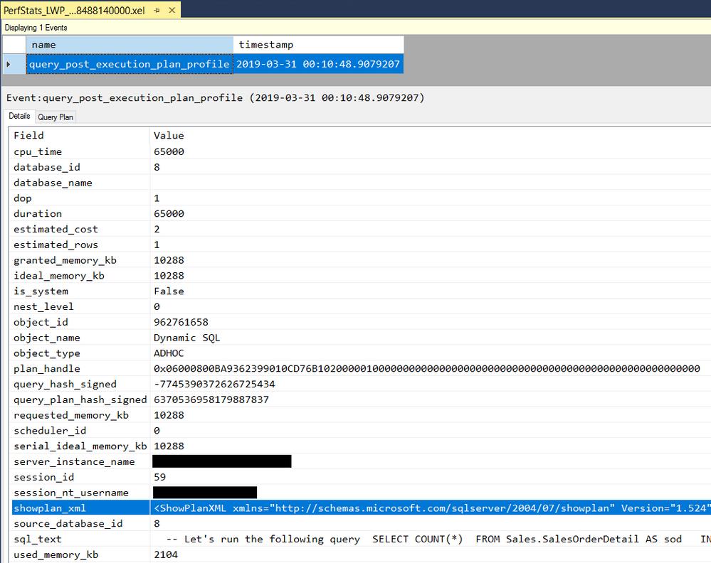 query_post_execution_plan_profile XE