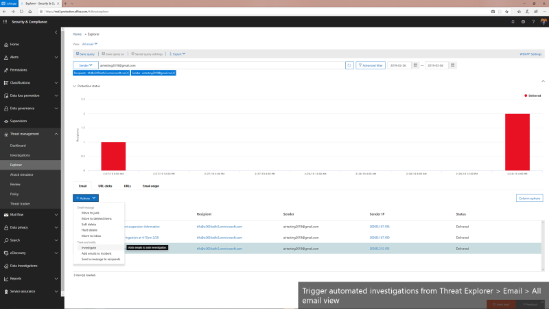 Triggering automated investigations from the Threat Explorer for All email view