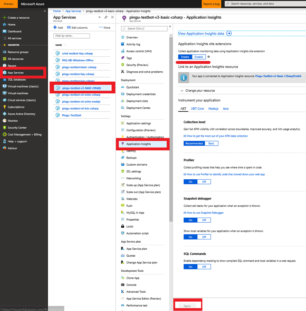 Quickly enable Application Insights