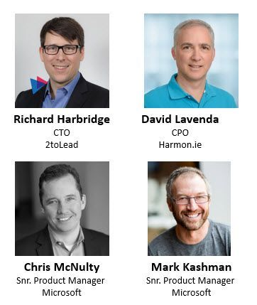Left to right, top to bottom: Richard Harbridge – CTO (2toLead) [guest], David Lavenda – CPO (Harmon.ie) [guest], Chris McNulty – senior product manager (SharePoint/Microsoft) [co-host], and Mark Kashman – senior product manager (SharePoint/Microsoft) [co-host].