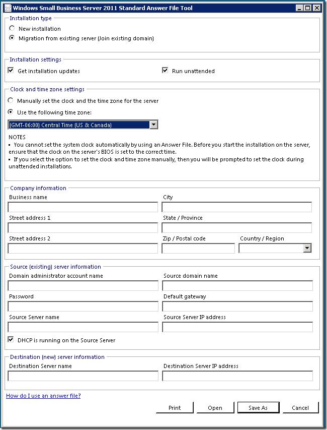 Introducing the SBS 2011 Answer File Generator - Microsoft Tech