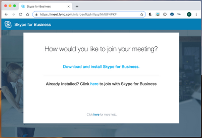"""How would you like to join your meeting?"" web page when joining a Skype for Business meeting"