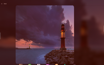 Dock Settings screen is frozen and aspect ratio is off (Note: red filter is due to Twilight app)