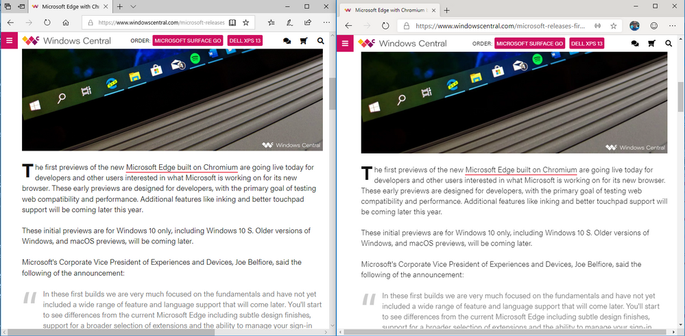 Edge Classic vs Edge Canary Text